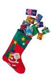 Γυναικεία κάλτσα και δώρα Χριστουγέννων που απομονώνονται πέρα από το λευκό Στοκ φωτογραφίες με δικαίωμα ελεύθερης χρήσης