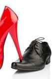 Γυναικεία παπούτσια και παπούτσια των ατόμων Στοκ Φωτογραφίες