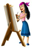Γυναικεία Artist ζωγραφική easel απεικόνιση αποθεμάτων