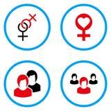Γυναικεία Love Rounded διανυσματικά εικονίδια Στοκ εικόνες με δικαίωμα ελεύθερης χρήσης