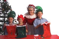 γυναικείες κάλτσες Χριστουγέννων Στοκ φωτογραφία με δικαίωμα ελεύθερης χρήσης