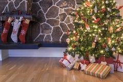 Γυναικείες κάλτσες και δέντρο Χριστουγέννων Στοκ εικόνες με δικαίωμα ελεύθερης χρήσης