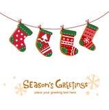 Γυναικείες κάλτσες Χριστουγέννων, ευχετήρια κάρτα απεικόνιση αποθεμάτων