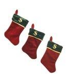 Γυναικείες κάλτσες Χριστουγέννων με τα σημάδια δολαρίων Στοκ εικόνες με δικαίωμα ελεύθερης χρήσης