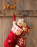 Γυναικείες κάλτσες Χριστουγέννων Στοκ Εικόνες