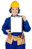 γυναικείος εργαζόμενος κατασκευής Στοκ φωτογραφία με δικαίωμα ελεύθερης χρήσης