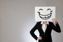 Γυναικείος προϊστάμενος με τη μεγάλη απεικόνιση προσώπου γέλιου Στοκ εικόνες με δικαίωμα ελεύθερης χρήσης