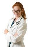 γυναικείο κόκκινο τριχώματος γιατρών στοκ εικόνες