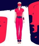 Γυναικείο μαύρο και κόκκινο ύφος μόδας Στοκ Εικόνες