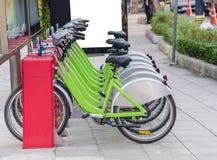 γυναικείο ποδήλατο για το κοινό στο μονοπάτι Στοκ Εικόνες