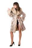γυναικείο leopard παλτών νεολαίες στοκ εικόνες με δικαίωμα ελεύθερης χρήσης