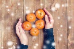 Γυναικών χεριών εκμετάλλευσης εσπεριδοειδών το ξύλινο επίπεδο άποψης υποβάθρου τοπ βάζει τονισμένα τα χιόνι φρούτα Χριστουγέννων Στοκ εικόνα με δικαίωμα ελεύθερης χρήσης