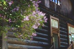 Γωνία ενός ξύλινου κτηρίου με ένα μέρος στοκ εικόνα