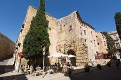 Γωνία που πυροβολείται ευρεία Plaza del Pallol Square Tarragona Στοκ Εικόνες