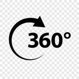 Γωνία 360 σημαδιών εικονιδίων γεωμετρίας math πλήρους βαθμοί περιστροφής συμβόλων Απεικόνιση αποθεμάτων