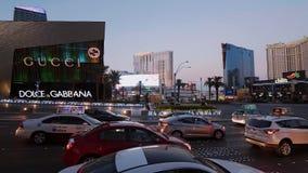 Γωνία του δρόμου στο Las Vegas Strip - άποψη βραδιού - ΗΠΑ 2017 φιλμ μικρού μήκους