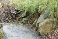 Γωνίες στον κήπο με τα κολοβώματα και τις πέτρες στοκ εικόνα με δικαίωμα ελεύθερης χρήσης