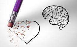 Γόμα που διαγράφει τα συναισθήματα αντί του λόγου στοκ εικόνες