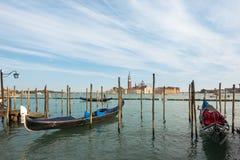 Γόνδολες που δένονται Ιταλία στη Βενετία, Στοκ εικόνες με δικαίωμα ελεύθερης χρήσης