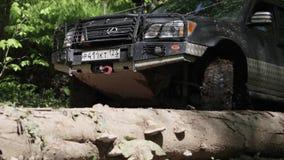 Γύροι τζιπ μέσω της λάσπης στα ξύλα απόθεμα βίντεο