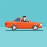 Γύροι χαρακτήρα διευθυντών γραφείων στο αυτοκίνητο ελεύθερη απεικόνιση δικαιώματος