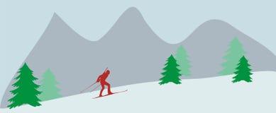 Γύροι Biathlonist στα βουνά Στοκ Εικόνες
