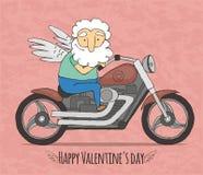 Γύροι Cupid σε μια δροσερή μοτοσικλέτα απεικόνιση αποθεμάτων