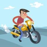 Γύρος ατόμων στη μοτοσικλέτα, διανυσματική επίπεδη απεικόνιση κινούμενων σχεδίων Στοκ φωτογραφία με δικαίωμα ελεύθερης χρήσης
