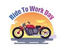 Γύρος για να απασχοληθεί στο ζωηρόχρωμο έμβλημα ημέρας με το κόκκινο ποδήλατο διανυσματική απεικόνιση