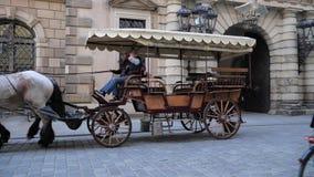 Γύρος μεταφορών με τα όμορφα άλογα στο υπόβαθρο της πόλης με τα αρχιτεκτονικά κτήρια απόθεμα βίντεο