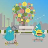 Γύρος πουλιών στο πάρκο Πουλί skateboard και ένα πουλί στο μηχανικό δίκυκλο ώθησης ελεύθερη απεικόνιση δικαιώματος