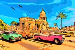 Γύρος της Κούβας Αβάνα στα αναδρομικά αυτοκίνητα κοντά στο Capitol απεικόνιση αποθεμάτων