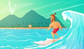 Γύρος Surfer στην ιστιοσανίδα διανυσματική απεικόνιση