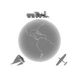 γύρω από το γήινο ταξίδι διανυσματική απεικόνιση