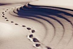γύρω από το χιόνι ιχνών τραπεζών Στοκ Εικόνες