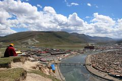 Γύρω από το Gar Yarchen ναό Yaqen Orgyan σε Amdo Θιβέτ, πηγούνι στοκ εικόνες