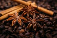 Γλυκάνισο αστεριών και καφές κανέλας Στοκ Εικόνες