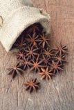 Γλυκάνισο αστεριών sackcloth στην τσάντα στοκ φωτογραφίες