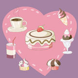 Γλυκά αρτοποιείο, παγωτό και ποτό Ελεύθερη απεικόνιση δικαιώματος