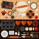 Γλυκά αρτοποιείων που τίθενται με τα συστατικά και τα εργαλεία κουζινών Στοκ Εικόνες