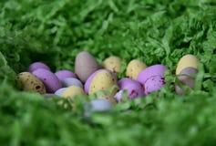 Γλυκά ζωηρόχρωμα αυγά καραμελών στην πράσινη φωλιά χλόης Στοκ εικόνες με δικαίωμα ελεύθερης χρήσης