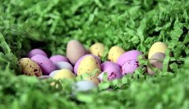 Γλυκά ζωηρόχρωμα αυγά καραμελών στην πράσινη φωλιά χλόης Στοκ φωτογραφία με δικαίωμα ελεύθερης χρήσης