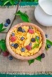 Γλυκά δημητριακά με τα φρούτα και το γάλα μούρων Στοκ Φωτογραφίες