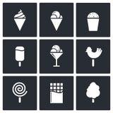 Γλυκά και σύνολο εικονιδίων παγωτού Στοκ εικόνα με δικαίωμα ελεύθερης χρήσης
