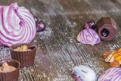 Γλυκά και marshmallows σοκολάτας Στοκ φωτογραφίες με δικαίωμα ελεύθερης χρήσης