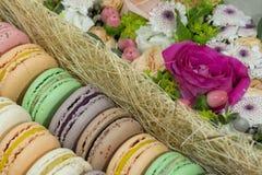 Γλυκά με την πλήρωση φρούτων, γαλλικό κέικ macaron, εύγευστο desser Στοκ Φωτογραφία