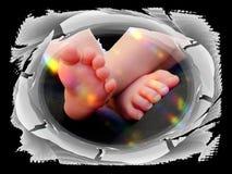 Γλυκά οικογενειακά παιδιά καρτών συγχαρητηρίων ποδιών μωρών Στοκ Εικόνες