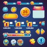 Γλυκά παιχνίδια Ιστού παγκόσμιων κινητά GUI καθορισμένα στοιχείων Στοκ Εικόνα