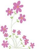 Γλυκά ρόδινα λουλούδια doodle με το άσπρο διαστημικό απομονωμένο υπόβαθρο β Στοκ εικόνες με δικαίωμα ελεύθερης χρήσης