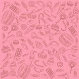 γλυκά στο ροζ διανυσματική απεικόνιση